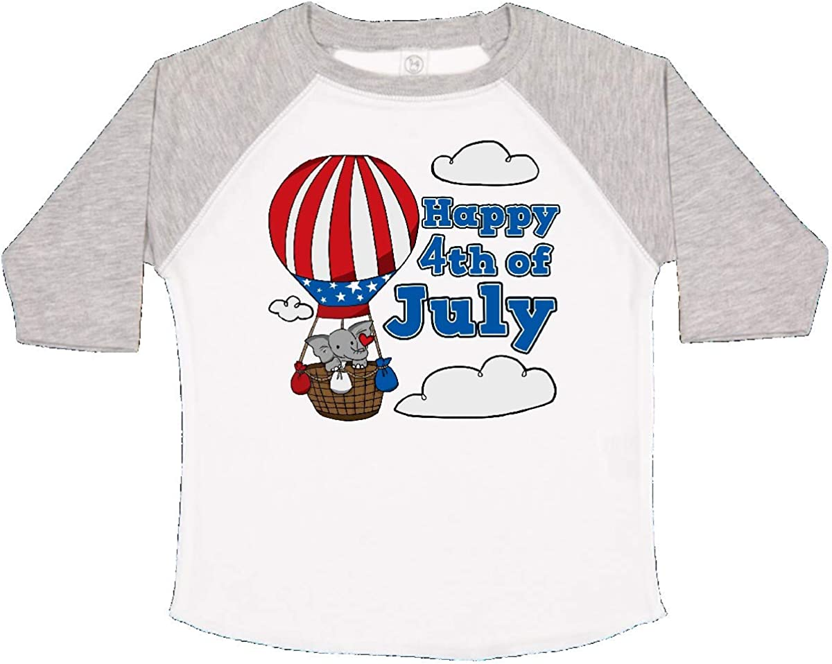 inktastic Happy 4th of July-Hot Air Balloon Elephant Toddler T-Shirt