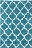 "Ottomanson Ultimate Shaggy Collection Moroccan Trellis Design Shag Rug Contemporary Bedroom and Living room Soft Shag Rugs, Turquoise Blue, 5'3"" L x 7'0"" W"