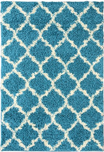 Ottomanson Ultimate Shaggy Collection Moroccan Trellis Design Shag Rug Contemporary Bedroom Soft Shaggy Area Rug Kids Rugs, Turquoise Blue, 60