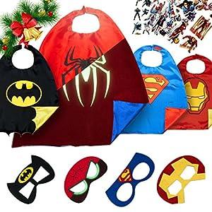 Superhero Costumes Boys Christmas Toys - 4 Super Hero Capes Masks Kids Toddler