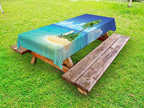 Lunarable Coastal Outdoor Tablecloth, Desert Chaise Lounge Solitude Resting Holiday Tropic Resor ...