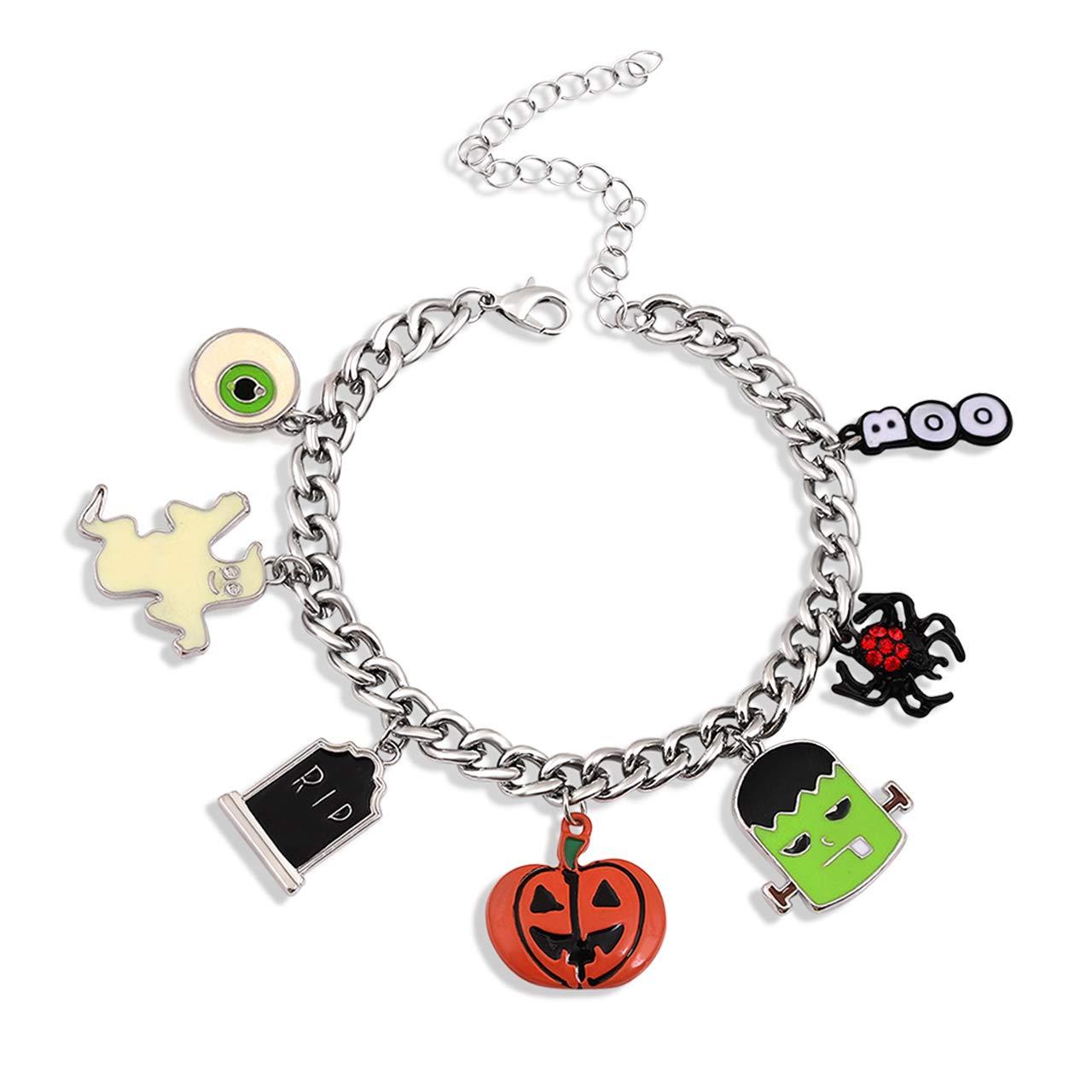 LPON Halloween Bracelet Necklace Set Spider Pumpkin Frankenstein Bat Tombstone Boo Eyes Jewelry Set for Women Girls