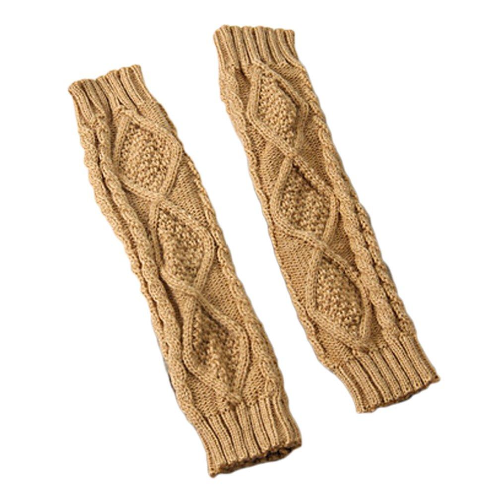 Gosear Winter Autumn Ladies Fashion Fingerless Knitted Gloves Arm-Warmer for Women Grey
