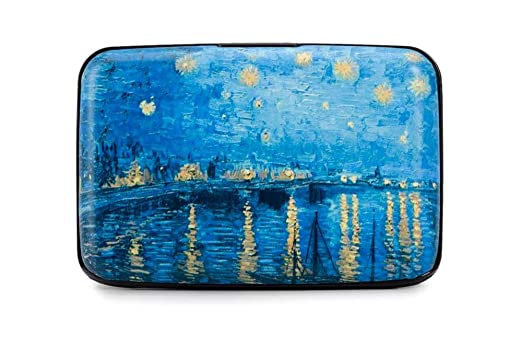 credit card case armor wallet starry night over the rhone by van gogh