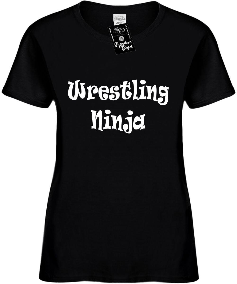 Signature Depot Women's Size 2X Funny T-Shirt (Wrestling Ninja (Humorous Cool) Ladies Shirt