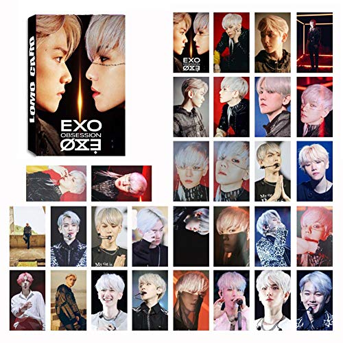 Heyu-Lotus Kpop EXO Album OBSESSION Photo Card PhotoBook Poster LOMO Cards Gift Sticker for Fans(1.H01)