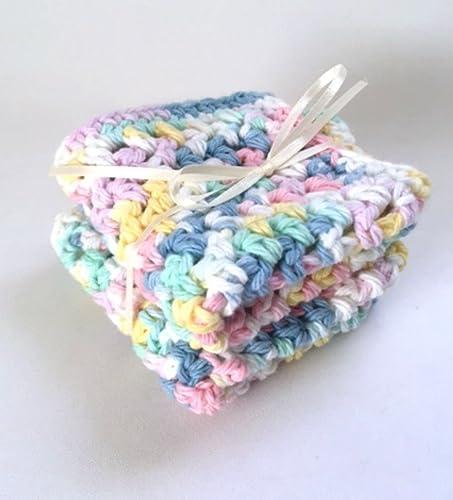 Amazon Crochet Baby Washcloths Pastel Natural Cotton Gift Set