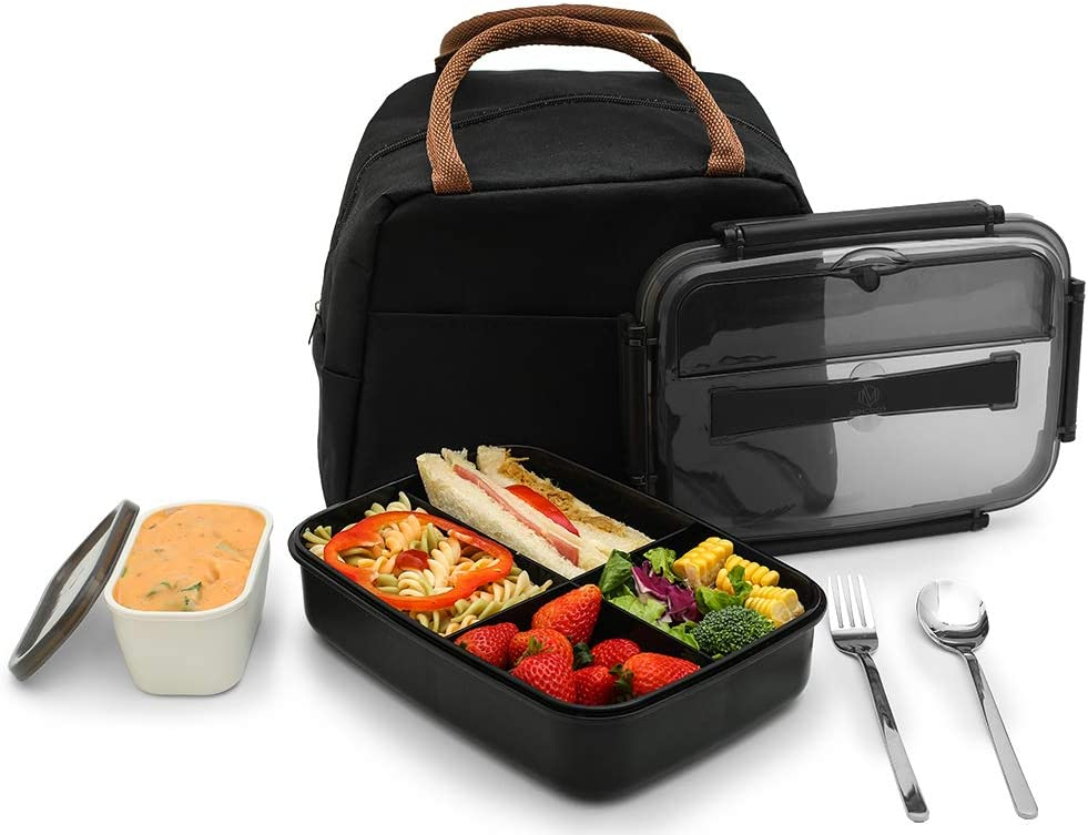 MINCOCO Bento Lunch Box Leak-proof Eco-Friendly Bento Box Food Storage Containers with Large Lunch Bag, Sauce Jar, Stainless Spoon&Fork for Adults Women Men Kids (Classic Black)