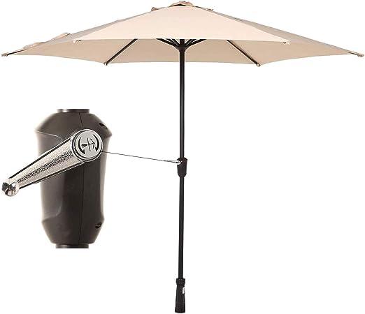 Mecorex - Sombrilla de 270 cm para jardín, protección Solar UV25 + Redonda, Color Rico: Amazon.es: Jardín