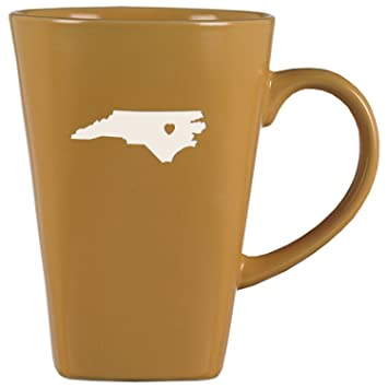 North Carolina State Outline Heart 14 Oz Ceramic Coffee Mug Gold