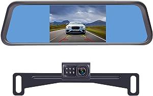 LeeKooLuu LK1 HD Backup Camera with 4.3'' Mirror Monitor Kit for Cars,Vans,Trucks,Campers Hitch Rear View Camera Single Power System IP 69 Waterproof License Plate Camera DIY Backup Guide Lines
