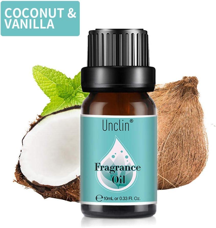 Unclin Aceites de Frangancia, Aceites Esenciales para Humidificador, Aromaterapia para Hogar, Oficina 10ml - Coco y vainilla
