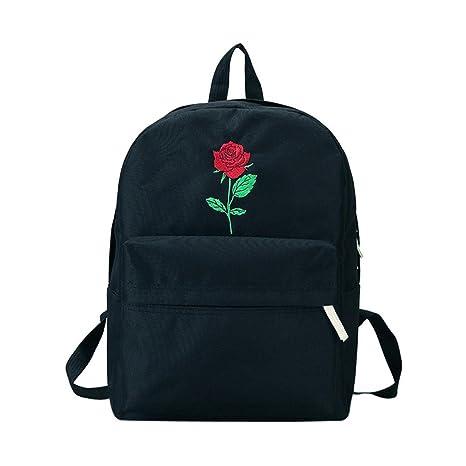 Mochila, Manadlian Bolso escolar de mujer Chicas Bordado de lona Bolso de escuela de flores