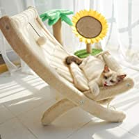 LUCKITTY Large Cat Hammock Sturdy Chair Cat Bed with Scratching Pad and Hang Ball Toys, Hanging Soft Pet Bed for Kitten Ferret Pubby,Self Warming Cat Bed Cushion
