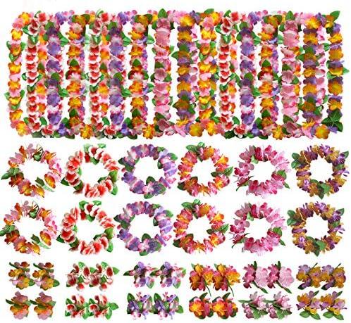 Kit 48 Piezas Hawaianas Leis Luau Flores 24 Pulseras 12 Diademas y ...