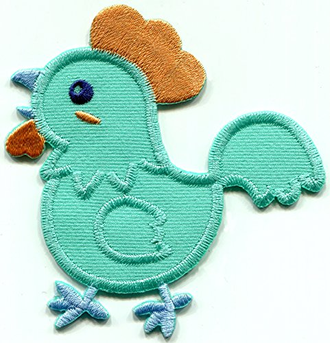 (Baby chicken chick teal blue embroidered applique iron-on patch S-1525)
