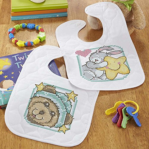 Baby by Herrschners Pre-Quilted Starbright Teddy Baby Bibs Stamped Cross-Stitch ()