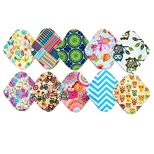10 Pieces 8 Inch Light Bamboo Mama Cloth/ Menstrual Pads/ Reusable Sanitary Pads Panty liner