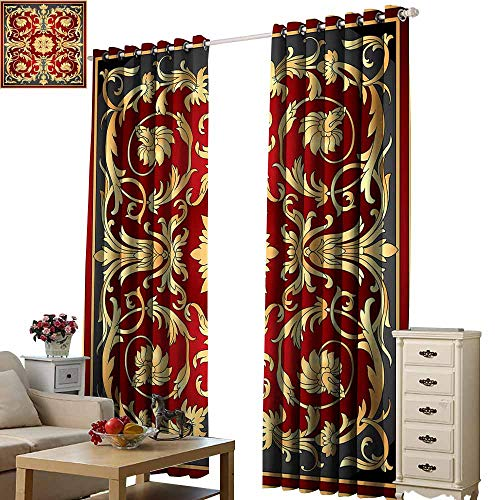 Beihai1Sun Curtains for Living Room Turkish Pattern Ottoman Spiral Foliage Pattern Frame Filigree Style Royal and Retro Ruby Mustard Black for Living Room Bed Room W96 x ()