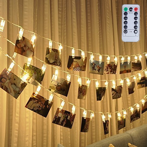 Led Photo Clip Remote String Lights, Magnolora 20 LEDs Battery Operated Fairy String Lights with 8 Modes Choice, 7.2 Feet, Warm White (Chasing Clip Light)