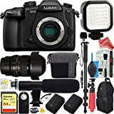 Panasonic LUMIX GH5 20.3MP 4K Mirrorless Digital Camera with WiFi (Body) ULTIMATE BUNDLE - Rokinon 14mm f/2.8 Lens 64GB Dual Battery + Shotgun Mic Pro Video + DigitalAndMore PRO Cleaning Solution