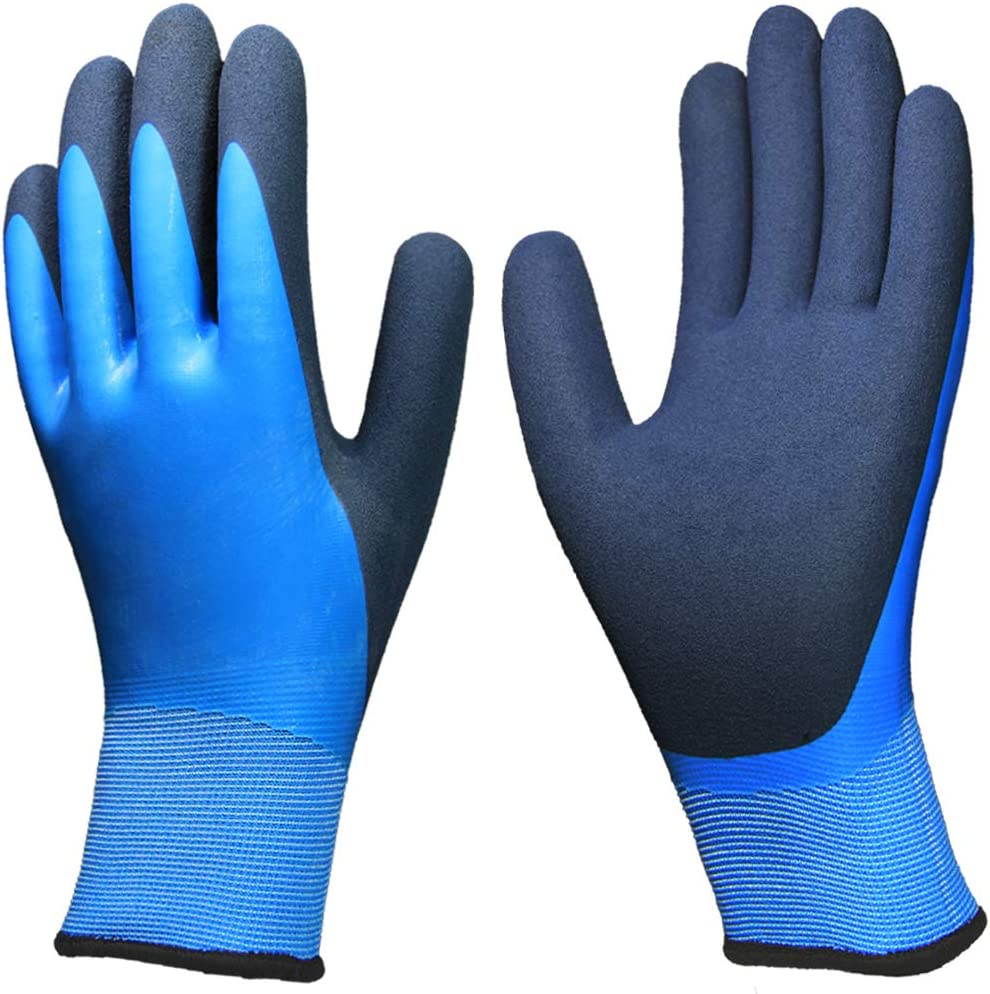 Hanhelp safety Waterproof Work Gloves, Double Coating Anti-Slip Comfortable for Garden Auto Multi-Purpose - Large