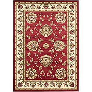 "Safavieh Lyndhurst Collection LNH555-4012 Red and Ivory Area Rug, 8 feet 9 inches by 12 feet (8'9"" x 12')"