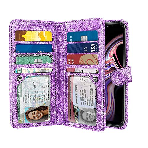 NEXTKIN Case Compatible with Samsung Galaxy Note 9 6.3 inch, Sparkling Glitter Dual Wallet Folio TPU Cover, 2 Pockets Double Flap, Multi Card Slots Snap Button Strap for Galaxy Note 9 - Light Purple ()