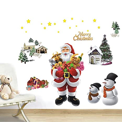 Christmas Wall Decals Removable.Keepfit Merry Christmas Wall Decals Removable Wall Sticker Adornment Wall Glass Window Decoration