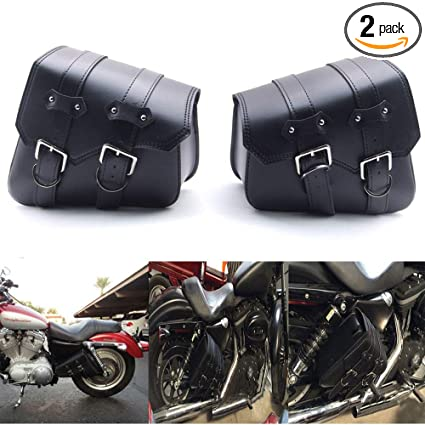 4d89c18c22f1 Image Unavailable. Image not available for. Color  Qlhshop Motorcycle Black PU  Leather Saddle Side Bag For Harley Sportster ...