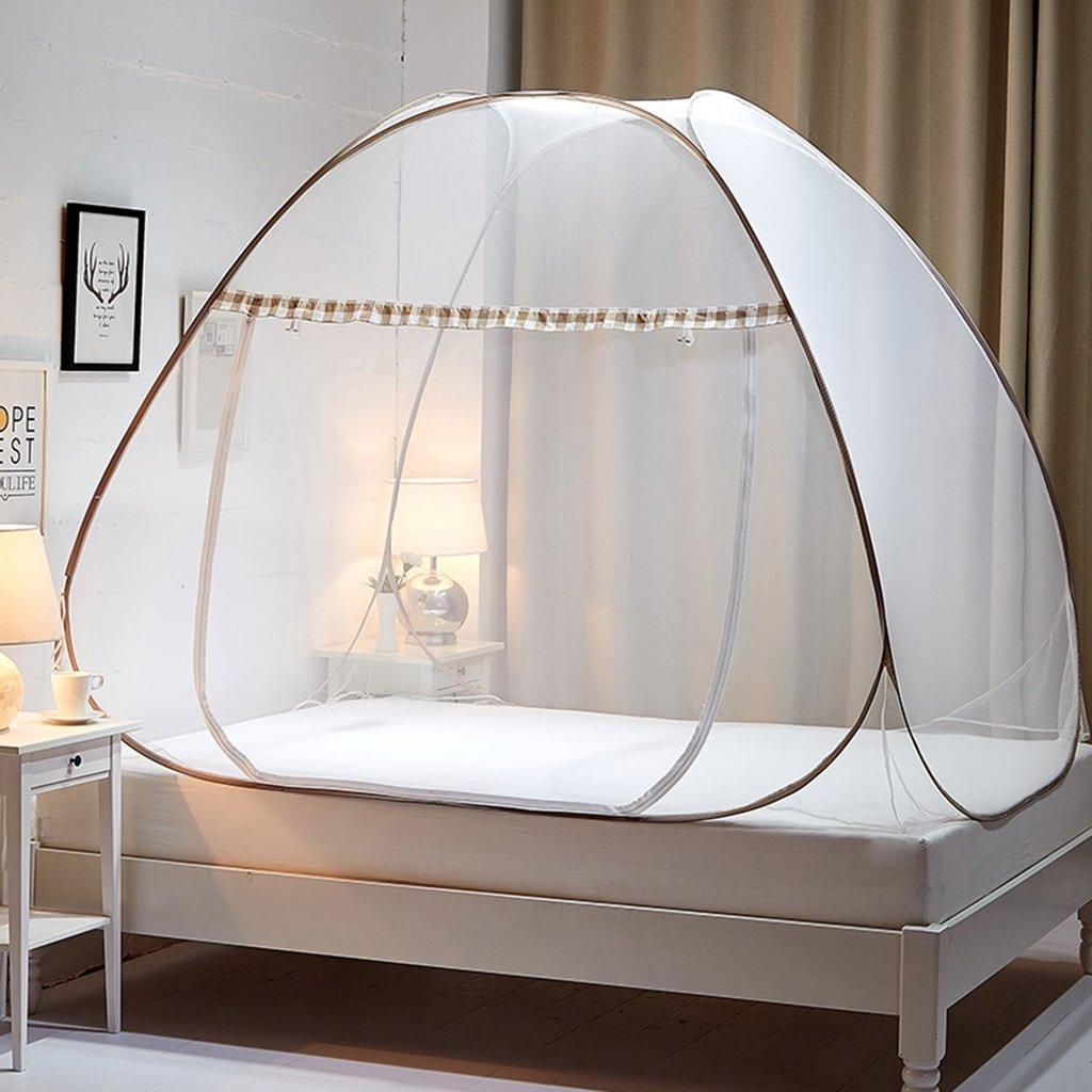MZ Kostenlose InsGrößetion von Moskitonetzen, Jurte Typ Magic Doppelbett universal, erhöhen Raum Verschlüsselung Moskitonetz für Das Bett (Farbe   Kaffee - Farbe, größe   1.0  1.95  1.1m)