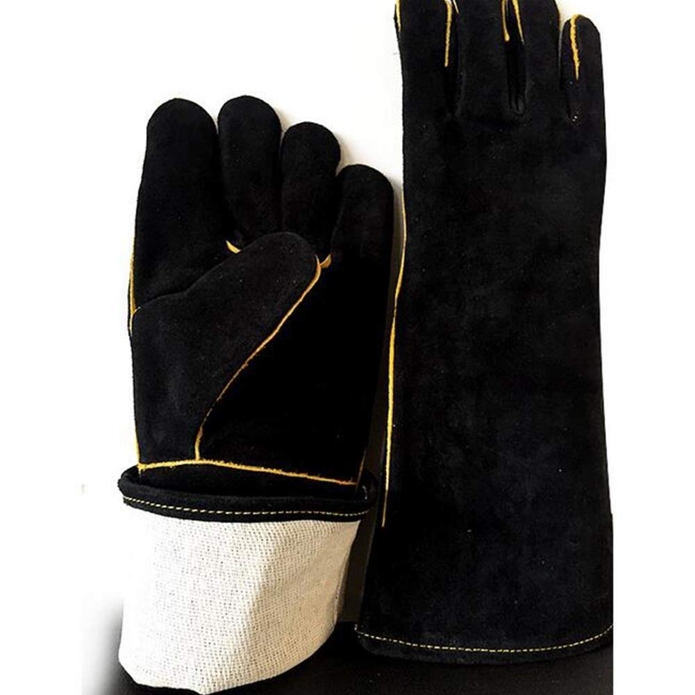 IRVING Outdoor welding leather gloves household barbecue BBQ microwave oven insulation gloves anti-scalding high temperature protective gloves by IRVING (Image #4)