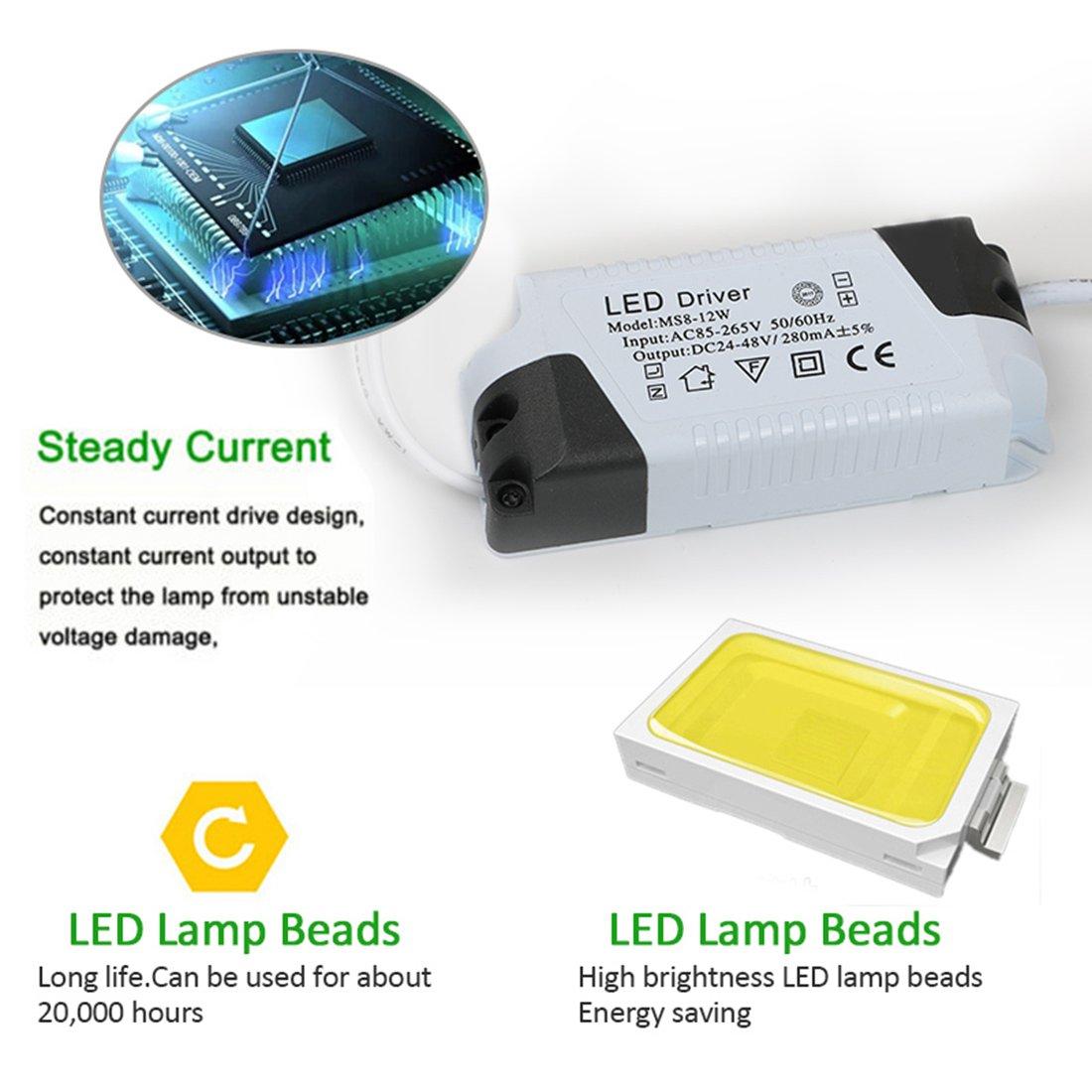 XYD/® per ufficio quadrato sale conferenza a risparmio energetico da incasso Pannello da soffitto a LED bagno camere da letto cucina 12w 3000k 12.00W 240.00V salotto