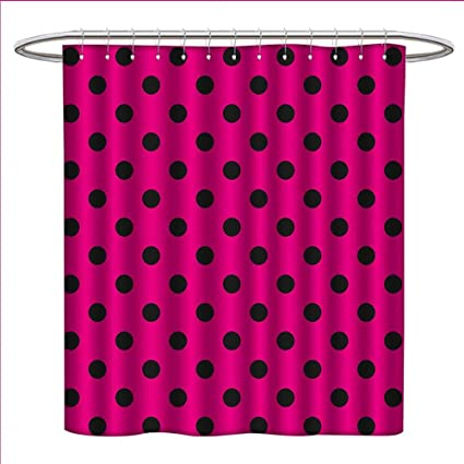 Littletonhome Hot Pink Shower Curtains Fabric Extra Long Pop Art Inspired Design Retro Pattern Of Black