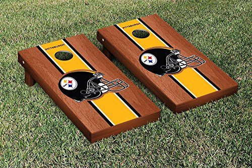 NFL Pittsburgh Steelers Rosewood Stained Stripe Version Football Cornhole Game Set, 24'' x 48'', Multicolor by Victory Tailgate