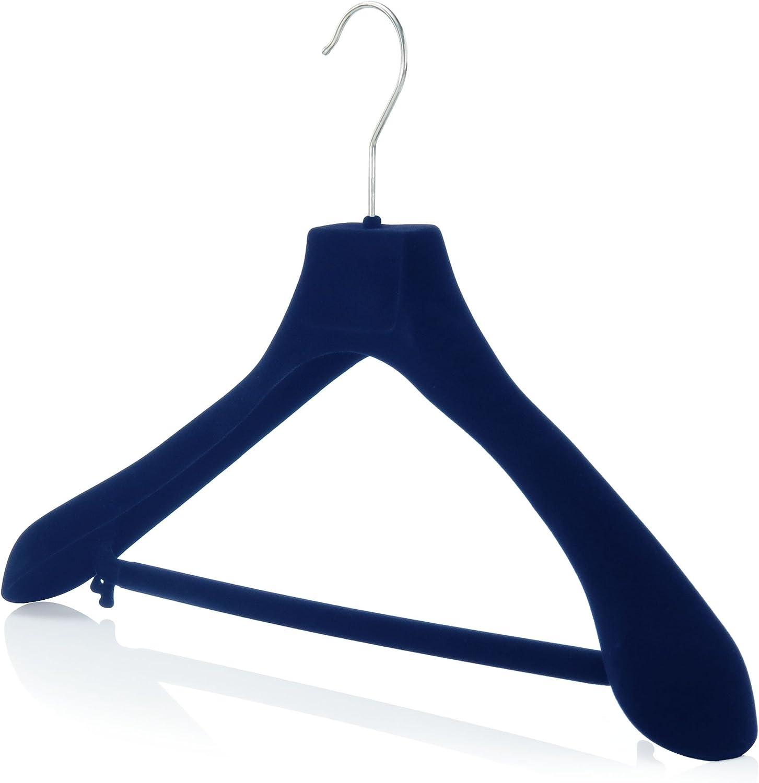 Hangerworld 5 Cintres 45cm en Velours Bleu Antid/érapant /à Barre Pantalon pour V/êtements Manteaux
