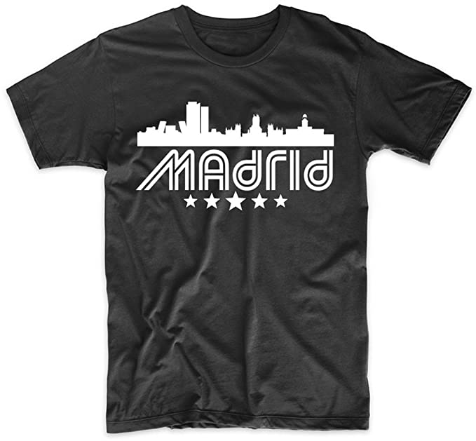 Amazon.com: Mens Madrid Shirt - Madrid Spain Skyline Retro ...