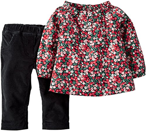 Carter's Baby Girls' 2 Pc. Floral Top Corduroy Pants (12m, Red) Floral Corduroy Pants