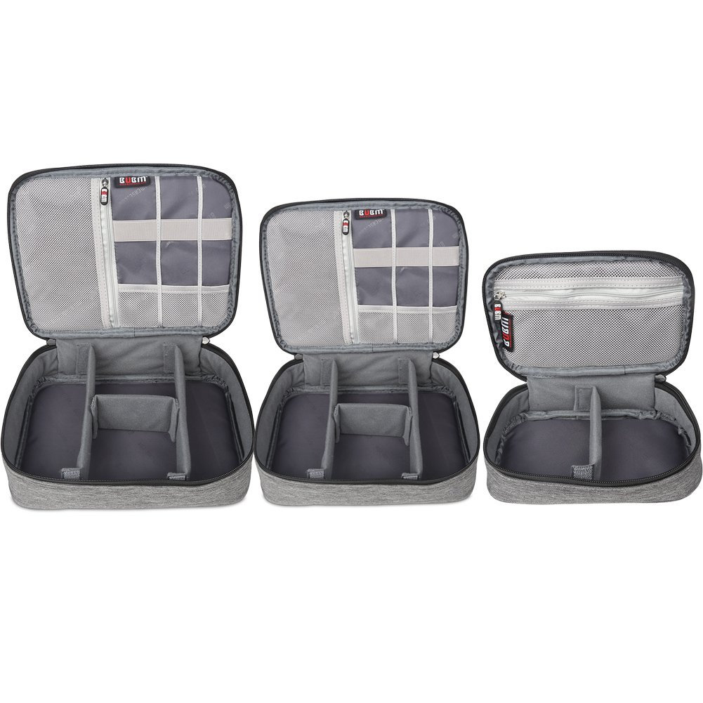 BUBM 3Pcs Electronic Travel Organizer, Portable Gadget Carrying Bag Gear Storage Organizer for Cables, USB Flash Drive, Battery, Adapter and More, Roomy and Compact,Denim Gray by BUBM (Image #4)