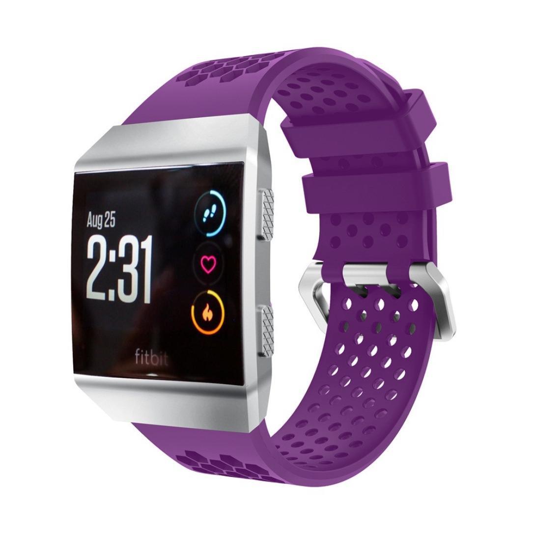 For Fitbit Ionic、Binmer (TM) 軽量履きシリコン穴あきアクセサリースポーツバンド 130-230mm パープル B076HLK255 パープル パープル