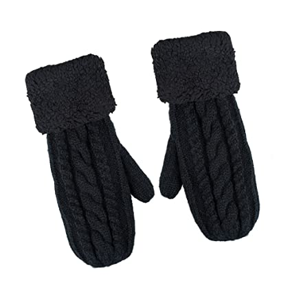 ebf675bba Chanvi Women's Winter Gloves Warm Lining - Cozy Wool Knit Thick Gloves(Black):  Amazon.ca: Luggage & Bags