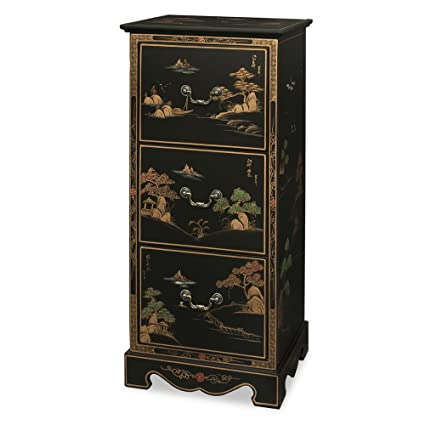 Charmant Chinoiserie Scenery Design 3 Drawer File Cabinet   Matte Black