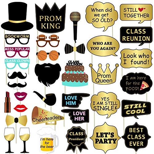 Class Reunion Photo Booth Props - 36PCS, No