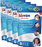 Ezywipe Compressed Cleansing Towels Candy Pack 4 Packs of 25 = 100 Total of 100% Rayon, Hypo-allergenic, Bio-degradable, Anti-Microbial Anti-Bacterial for Travel Camping Home Family Senior Pet Care