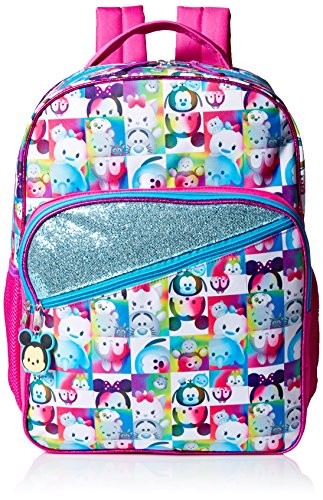 Disney Girls' Tsum Zipper Pull 16 Inch Backpack, Multi