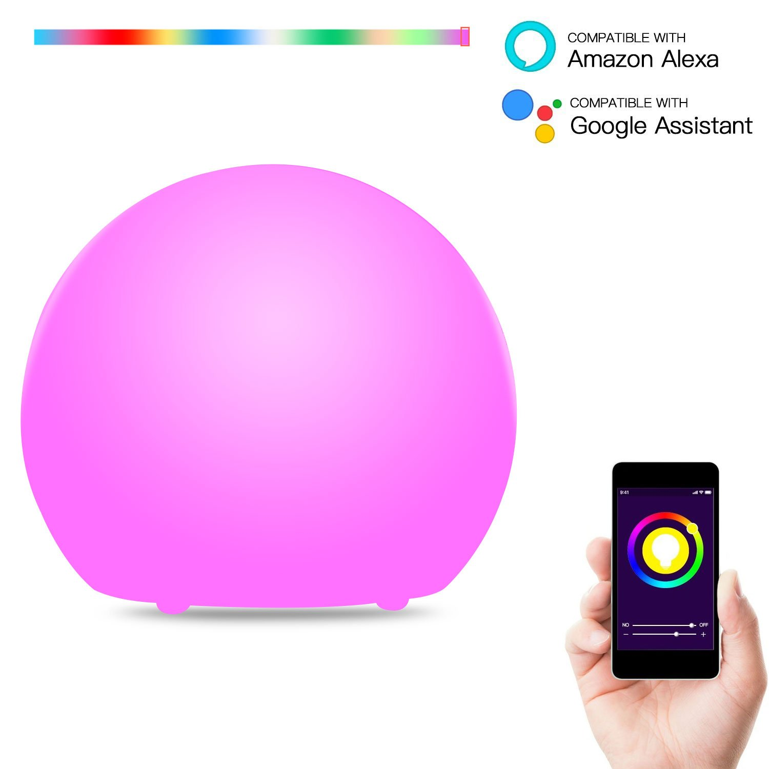 KOBWA Smart Table Lamp Compatible with Alexa Google Home, Unlimited Color Adjustable Bedside Lamp Wifi Controlled By Smartphone, Portable Color Changing RGB Ambient Night Light for Indoor/Outdoor