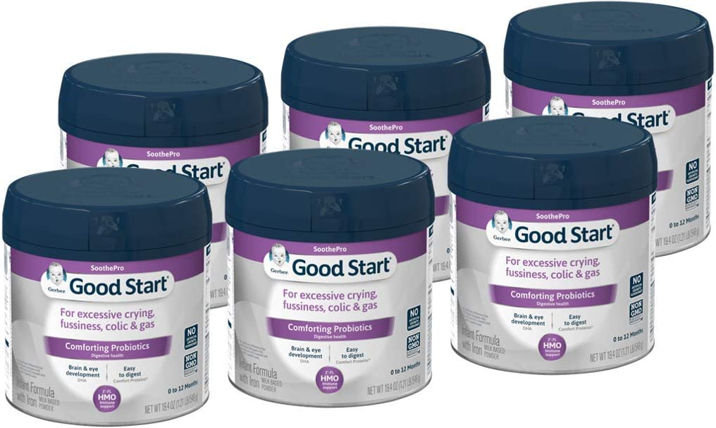 Gerber Good Start Soothe (HMO) Non, GMO Powder Infant Formula, Stage 1, 19.4 Ounce (Pack of 6), 116.4 Ounce