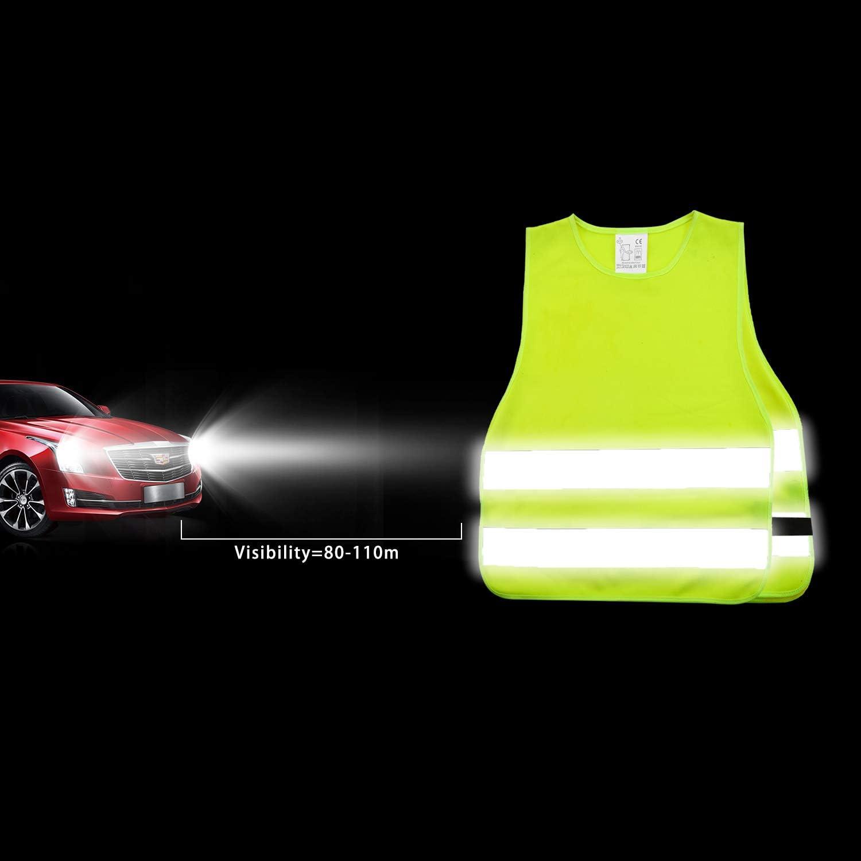 360 Gradi Gilet alta Visibilita per Corsa Escursionismo e Gite Scolastiche SHYOSUCCE 2pcs Giubbotto di Sicurezza per Bambini XS 45x40cm Ciclismo