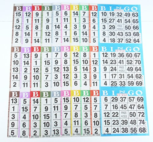 Bingo Paper Game Cards - 3 cards - 10 sheets - 100 books - 4 Inch by 12 Inch Size Disposable Sheet - Made in USA (Sheets Bingo Game)
