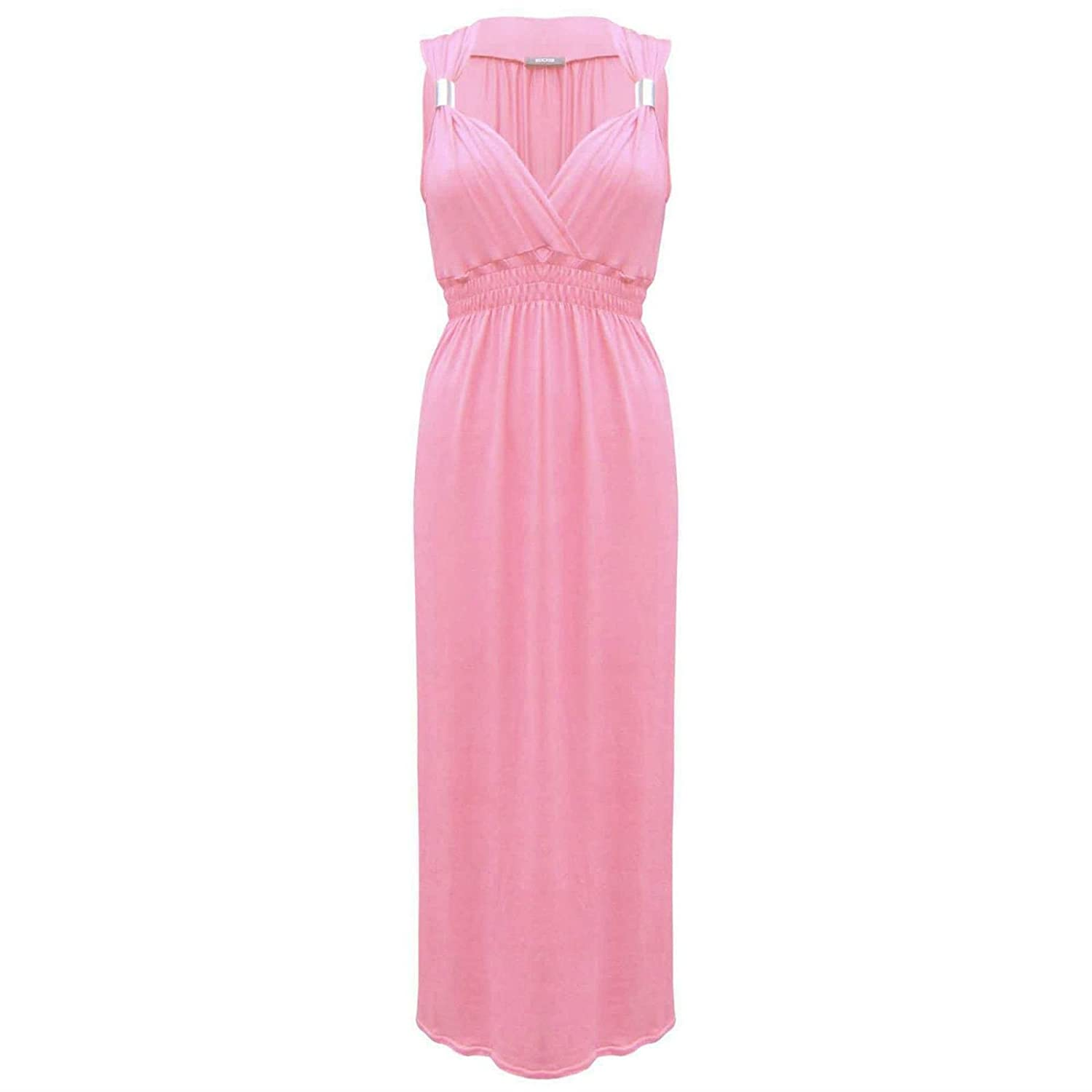 Womens Sleeveless Spring Coil Maxi Dress Ladies Long Jersey Stretch ...